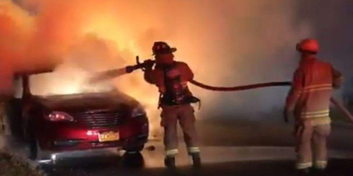 Video captures firefighters battling blaze in Ogdensburg