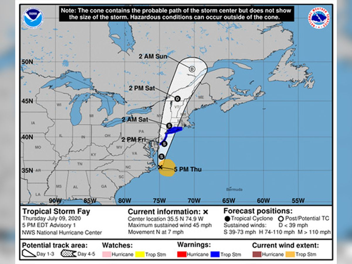Tropical Storm Fay threatens mid-Atlantic coast, New England