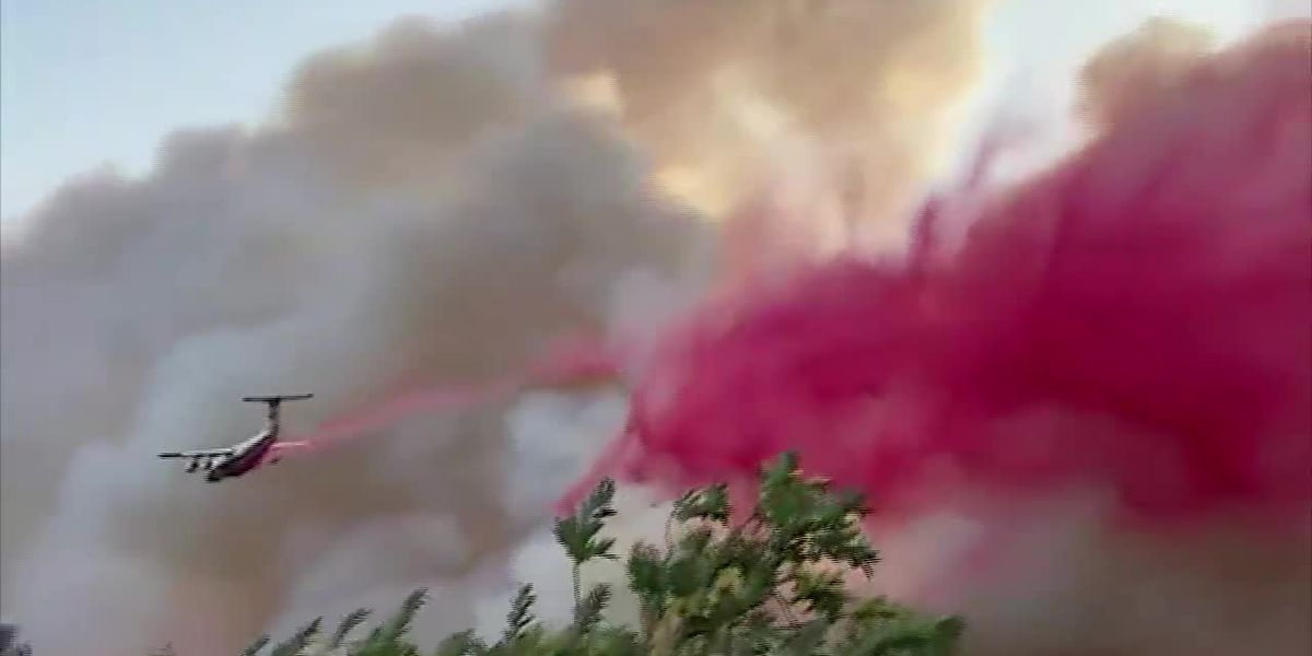 Raw: Fire retardant sprayed near California winery