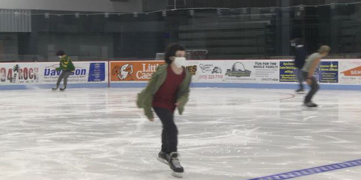 Masked skaters take to the ice in Watertown