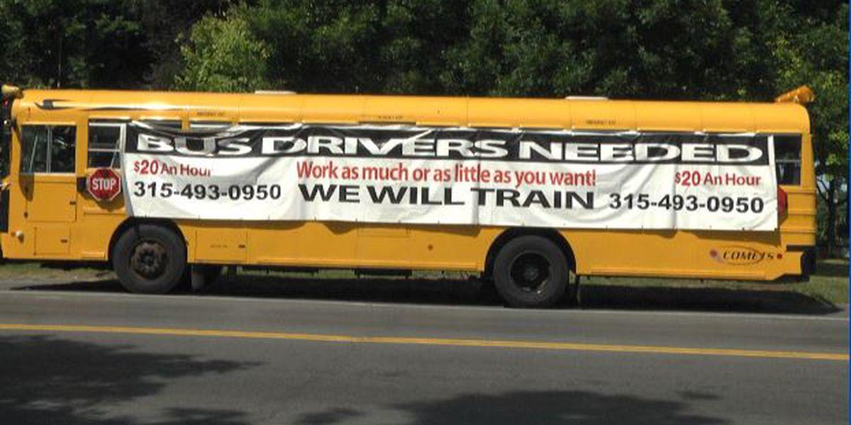 Carthage uses school bus banner to seek drivers
