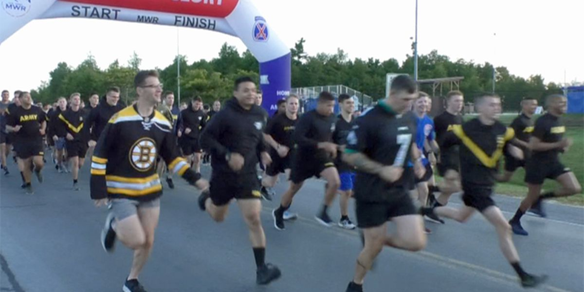 Morning run at Fort Drum takes on sports theme