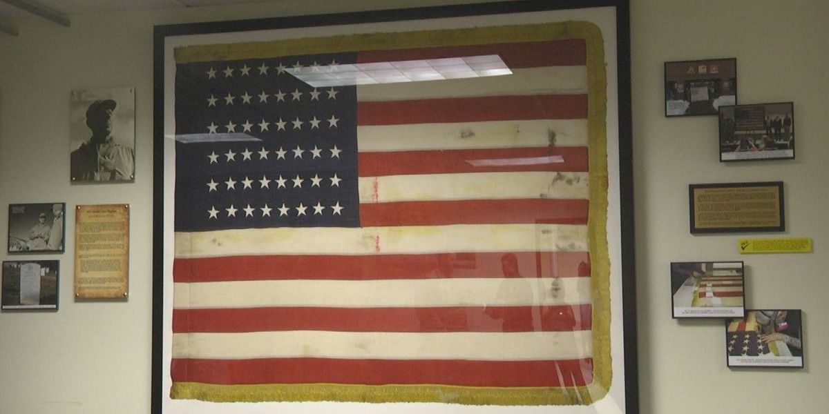 World War II flag restored and hanging at Fort Drum