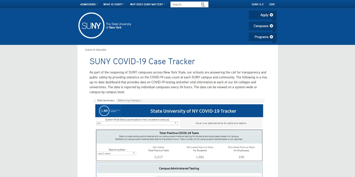 SUNY launches COVID-19 Tracker to respond to the virus on campuses
