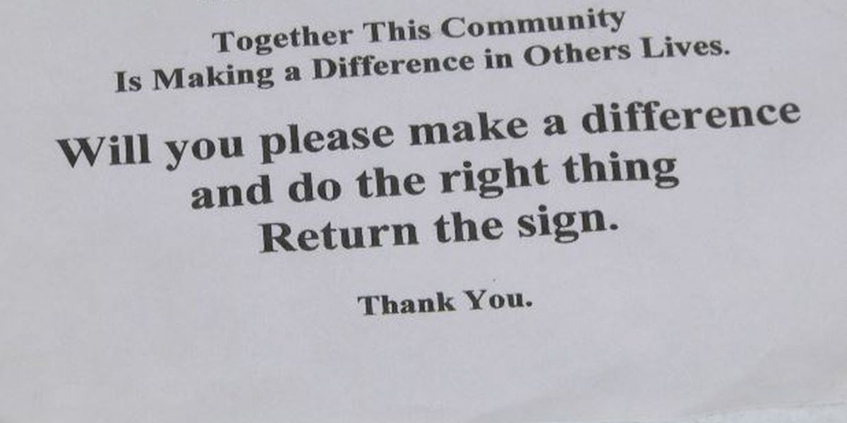 Food pantry wants sign returned