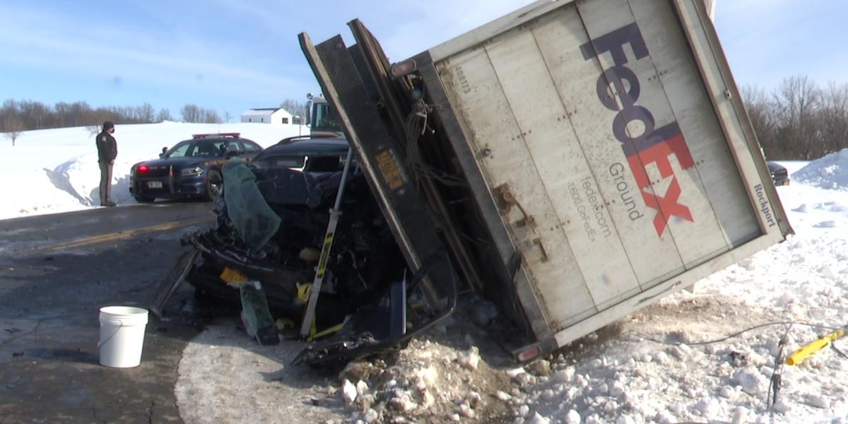 Adams Center crash injures 2 people