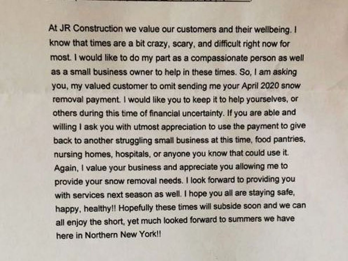 Instead of sending bills, local business asks customers to keep their money, pay it forward