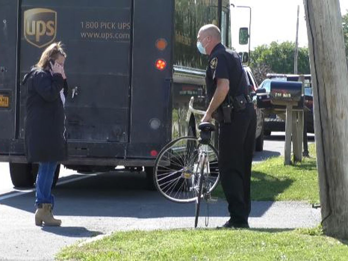 Bicyclist airlifted to hospital after striking UPS truck