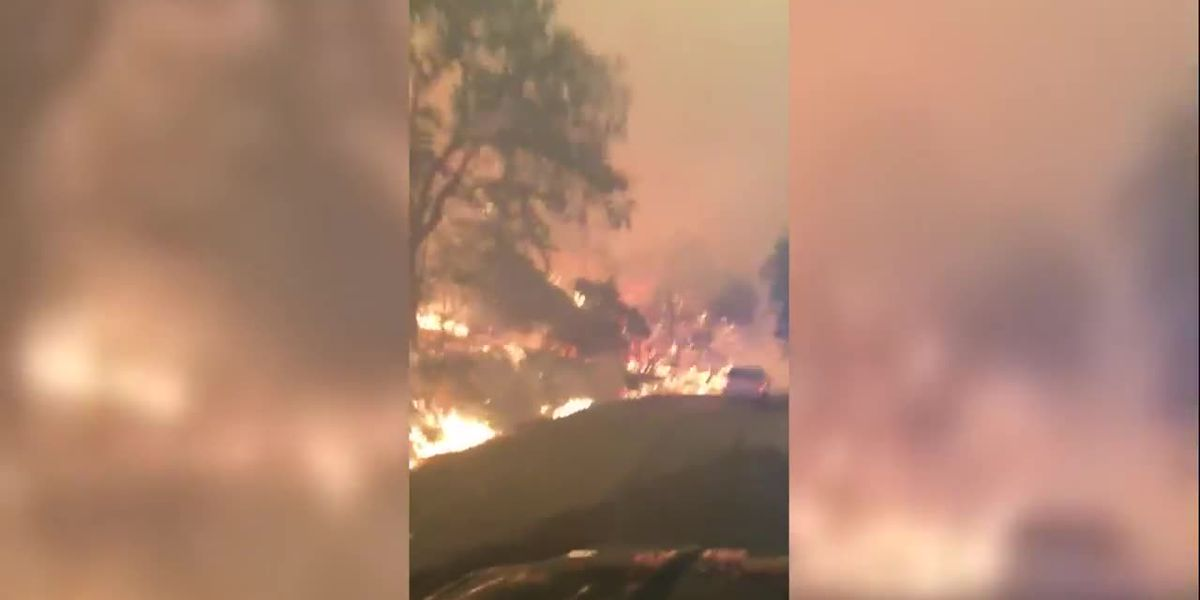 Raw: Flames line roadway in Napa County, Calif.