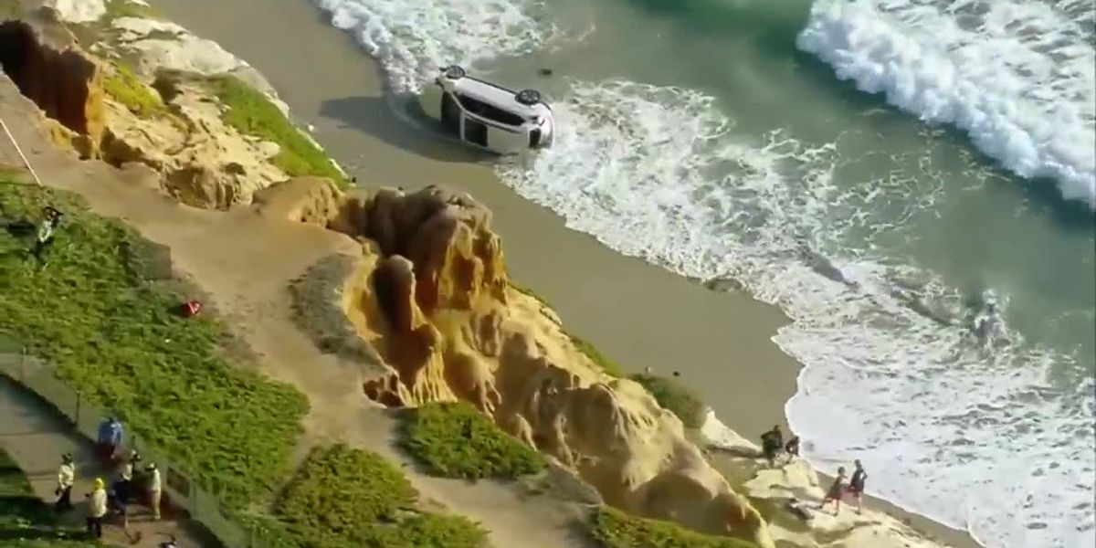 Man rescued after driving SUV off Calif. cliff