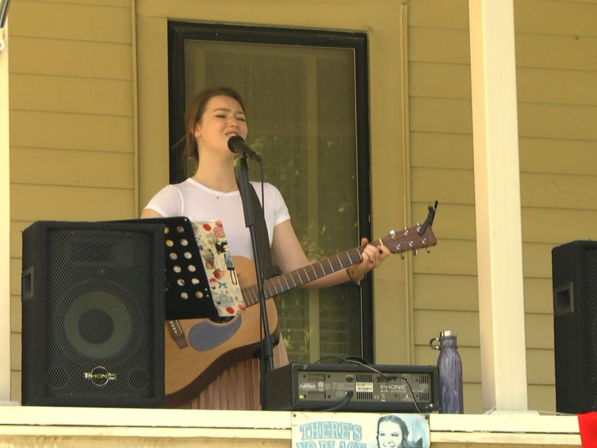 Saturday: In Sackets Harbor, playing on the porch