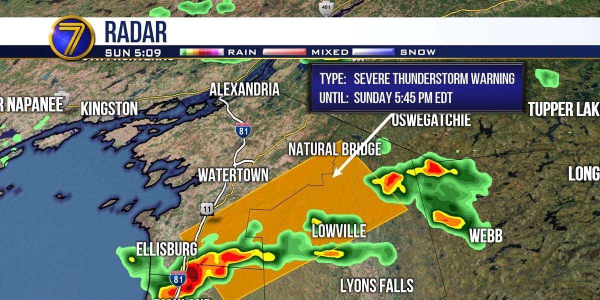 Severe thunderstorms expected for Southern Jefferson, Lewis Counties