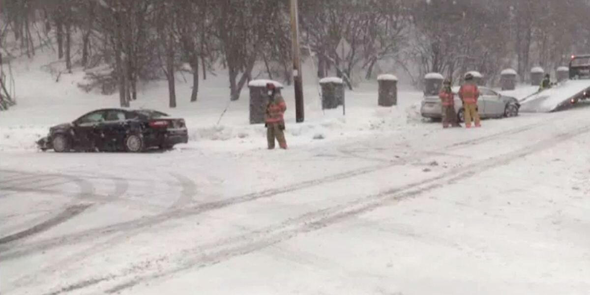 Slippery roads lead to 2-car collision