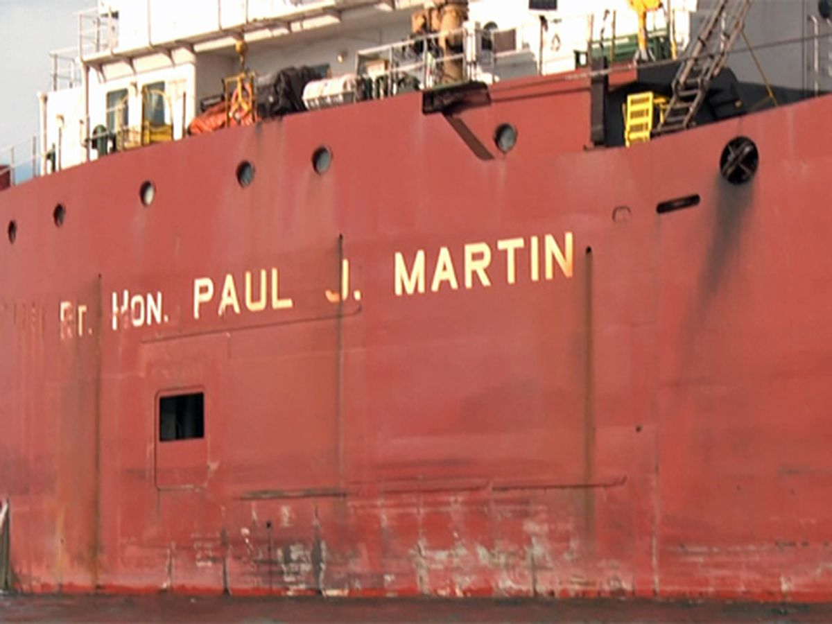 Formerly stranded ship now at port for repairs