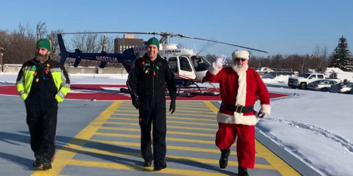 Santa takes helicopter to visit Samaritan Medical Center