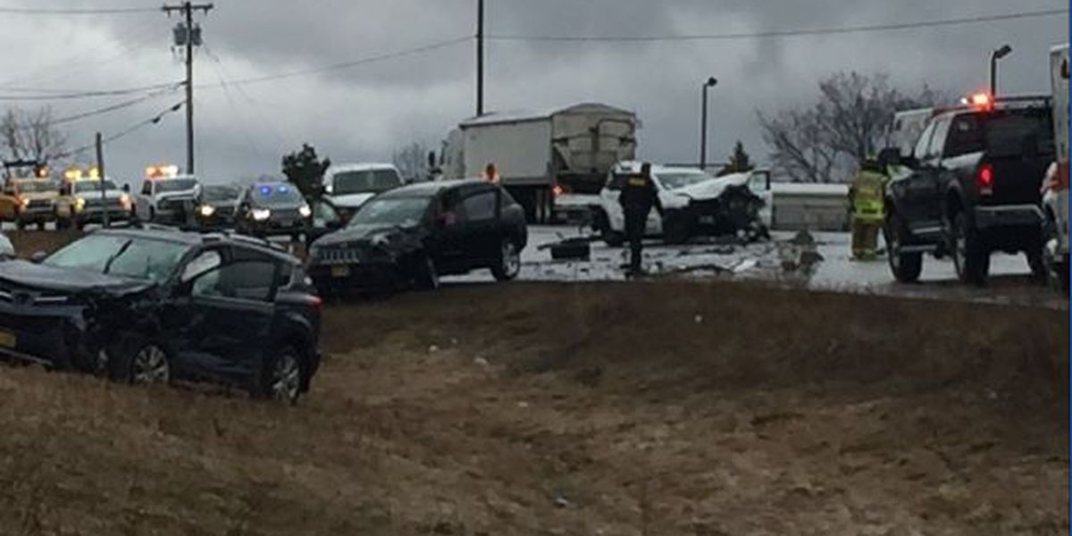 Injuries reported in crash involving 3 SUVs and tractor trailer