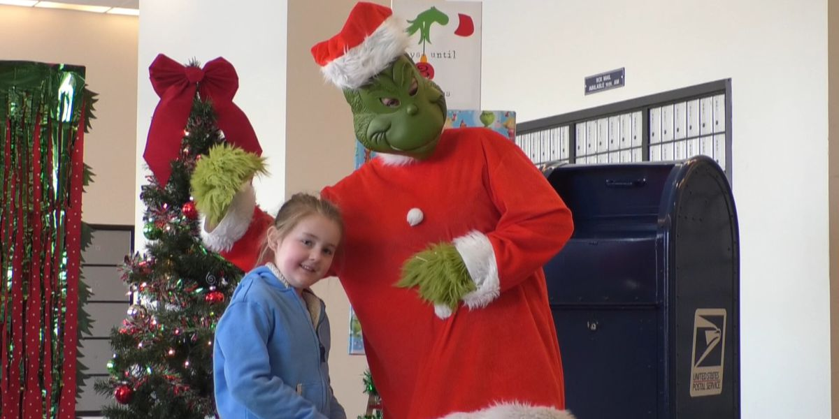 Grinchy greetings at Watertown Post Office