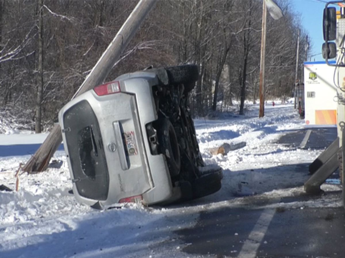 Car knocks over utility pole in Monday morning crash