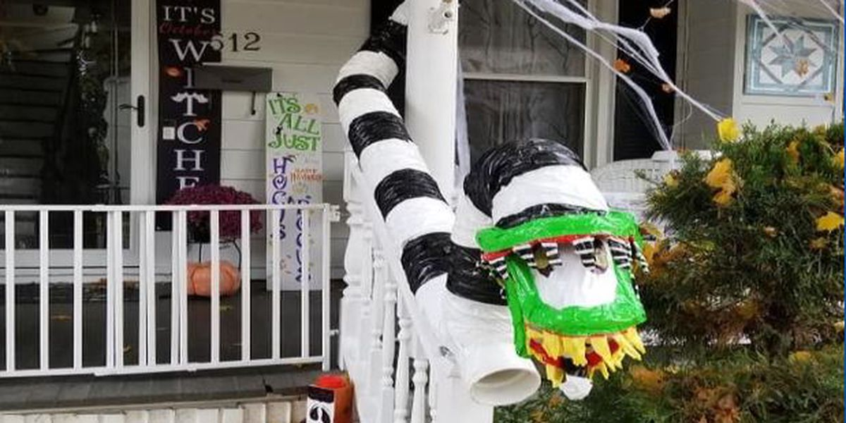 Ogdensburg family makes candy chute for Halloween