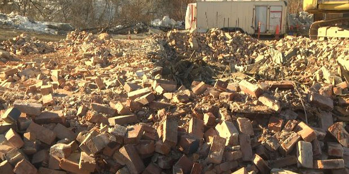 Watertown building now a pile of rubble