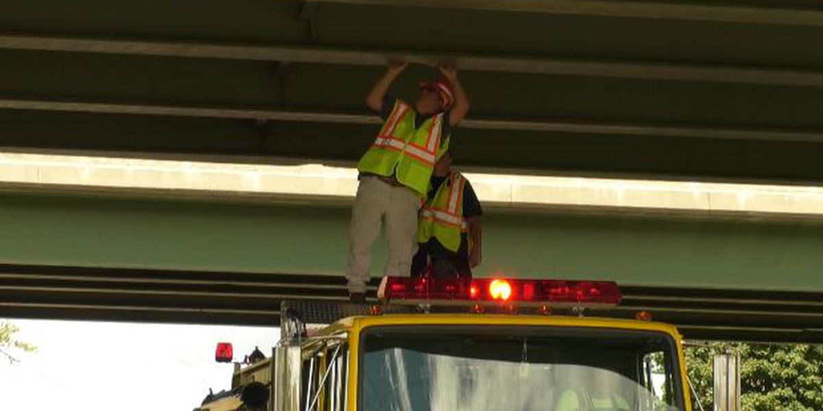 Route 12 down to one lane after overpass struck