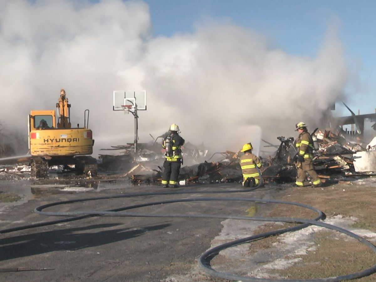 Saturday: crews knock down a garage fire in the town of Lyme