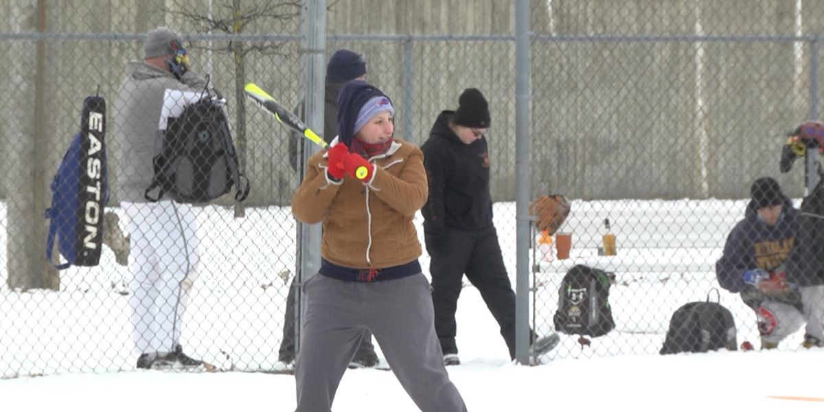 Snowtown USA continues with a snowy softball competition