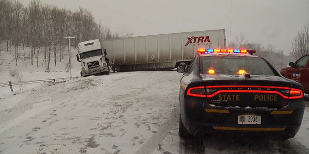 Tractor trailer jackknifes on Route 11