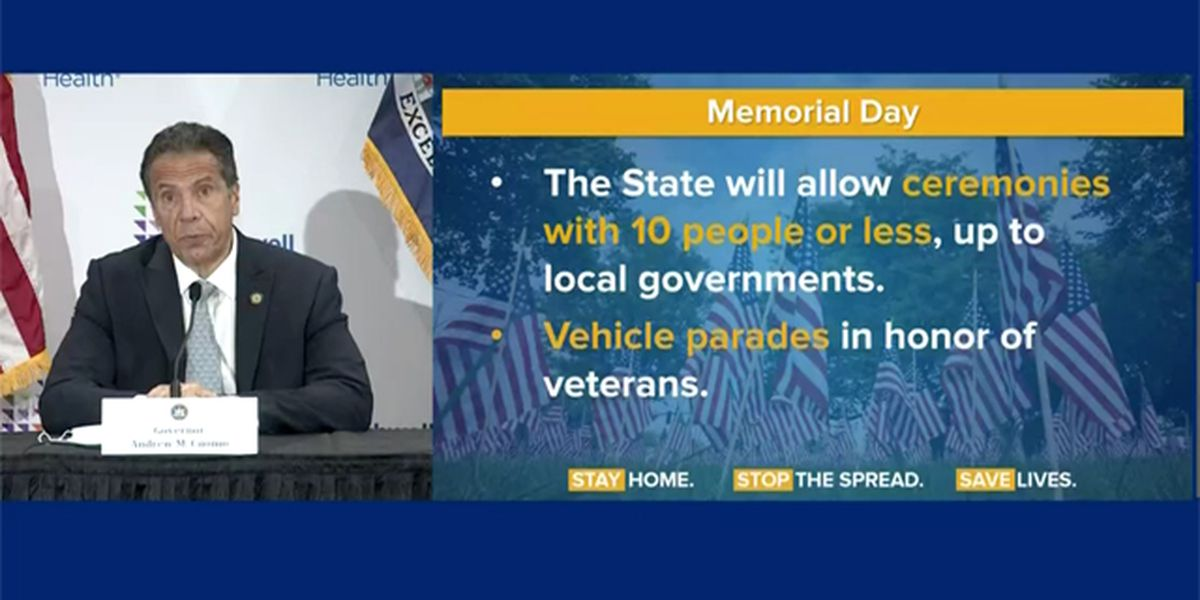 Small Memorial Day ceremonies & vehicle parades only, Cuomo says